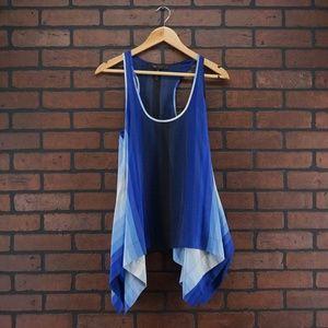 BCBGMaxazria Blue White Stripe Sleeveless Silk Top